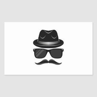 Cool Hipster with mustache, hat and sunglasses Rectangular Sticker