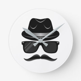 Cool Hipster with mustache, hat and sunglasses Round Clock