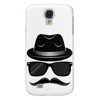 Cool Hipster with mustache, hat and sunglasses Samsung Galaxy S4 Cases