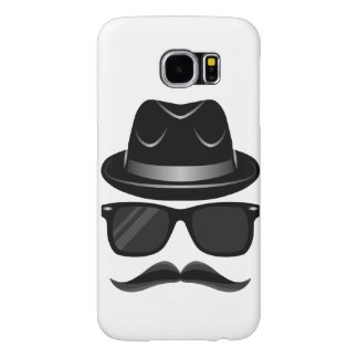 Cool Hipster with mustache, hat and sunglasses Samsung Galaxy S6 Cases