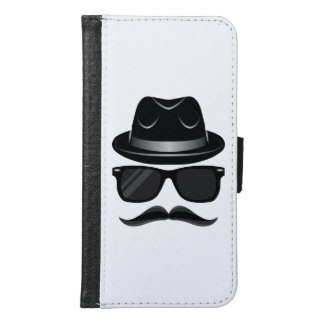 Cool Hipster with mustache, hat and sunglasses Samsung Galaxy S6 Wallet Case