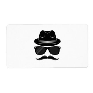 Cool Hipster with mustache, hat and sunglasses Shipping Label
