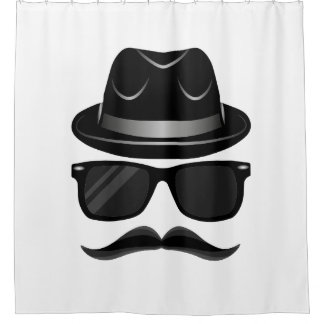Cool Hipster with mustache, hat and sunglasses Shower Curtain