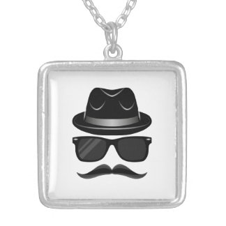 Cool Hipster with mustache, hat and sunglasses Silver Plated Necklace