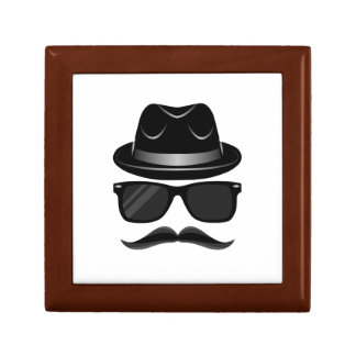 Cool Hipster with mustache, hat and sunglasses Small Square Gift Box