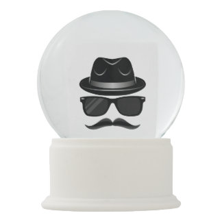 Cool Hipster with mustache, hat and sunglasses Snow Globe