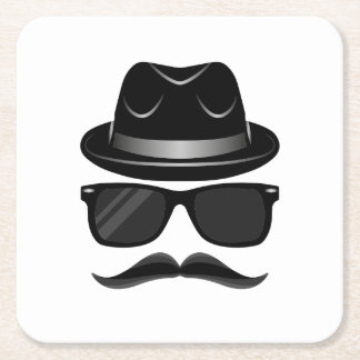 Cool Hipster with mustache, hat and sunglasses Square Paper Coaster