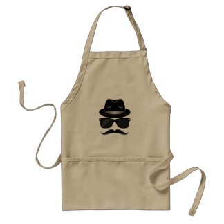 Cool Hipster with mustache, hat and sunglasses Standard Apron