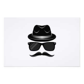 Cool Hipster with mustache, hat and sunglasses Stationery