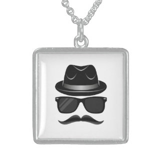 Cool Hipster with mustache, hat and sunglasses Sterling Silver Necklace