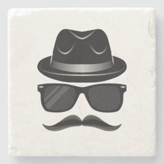 Cool Hipster with mustache, hat and sunglasses Stone Coaster