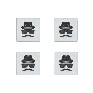 Cool Hipster with mustache, hat and sunglasses Stone Magnet