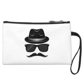 Cool Hipster with mustache, hat and sunglasses Suede Wristlet