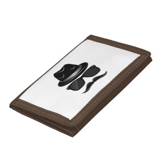 Cool Hipster with mustache, hat and sunglasses Trifold Wallets