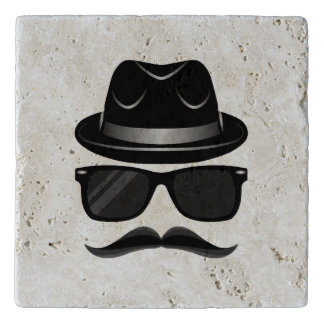 Cool Hipster with mustache, hat and sunglasses Trivet