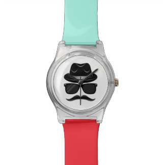 Cool Hipster with mustache, hat and sunglasses Watch