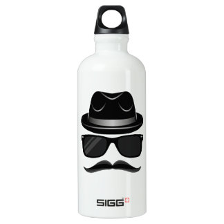 Cool Hipster with mustache, hat and sunglasses Water Bottle