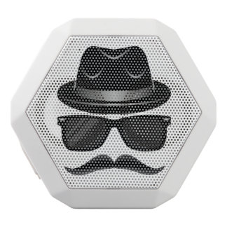 Cool Hipster with mustache, hat and sunglasses White Bluetooth Speaker