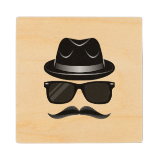 Cool Hipster with mustache, hat and sunglasses Wood Coaster