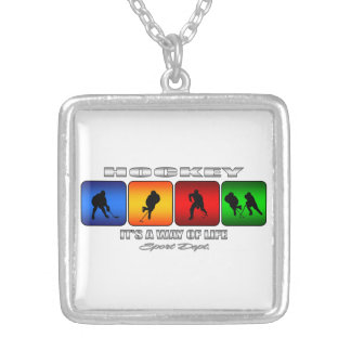 Cool Hockey It Is A Way Of Life Silver Plated Necklace