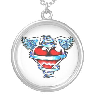 Cool Holy Heart with Angel Wings Round Pendant Necklace