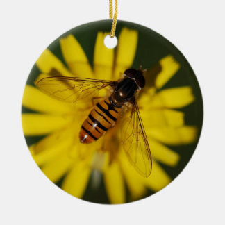 Cool Honey Bee on Flower in Nature Photography Christmas Tree Ornament