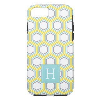 Cool Honeycomb Pattern and Aqua Monogram iPhone 8/7 Case