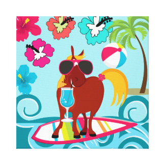 Cool Horse Surfer Dude Summer Fun Beach Party Stretched Canvas Prints