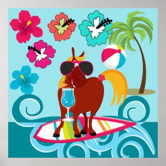 Cool Horse Surfer Dude Summer Fun Beach Party Poster