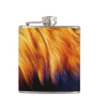 Cool horse tail fur texture trendy design hip flask
