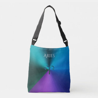 Cool Hued Metallic Zodiac Sign Aries Crossbody Bag