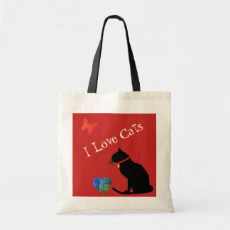 Cool I Love Cats Red And White  Graphic Tote