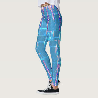 Cool Ice Blue Faux Blue Denim Leggings