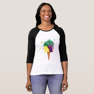 Cool Ice Cream 3 Scoops! - 3/4 Sleeve T-Shirt