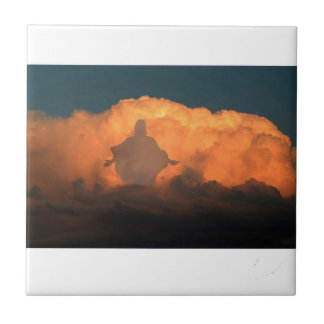 Cool Image of Jesus on Clouds Small Square Tile