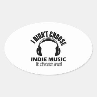 Cool indie music designs oval sticker