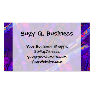Cool Indigo Concentric Circles Abstract Mosaic Business Card Template
