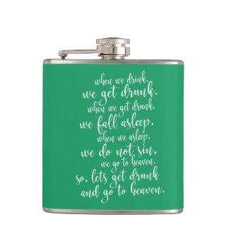 Cool Irish Toast St. Patrick's Day Green & White Hip Flask