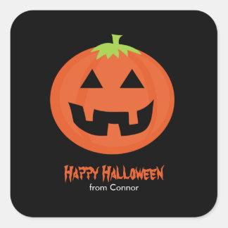 Cool Jack-O-Lantern Halloween Square Sticker