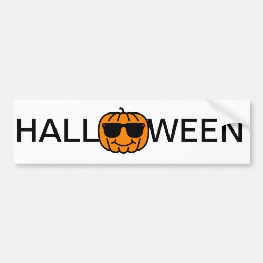 Cool jack-o-lantern with sunglasses bumper stickers