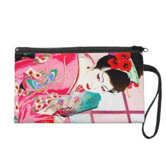 Cool japanese beauty Lady Geisha pink Fan art Wristlet Purses