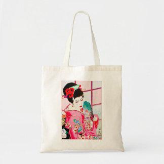 Cool japanese beauty Lady Geisha pink Fan art Tote Bags