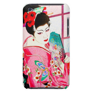 Cool japanese beauty Lady Geisha pink Fan art iPod Touch Cover