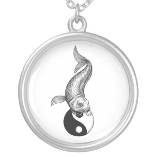 Cool Japanese Black White Koi Fish Yin Yang Silver Plated Necklace