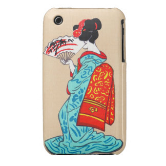 Cool japanese classic geisha lady kimono fan iPhone 3 Case-Mate case