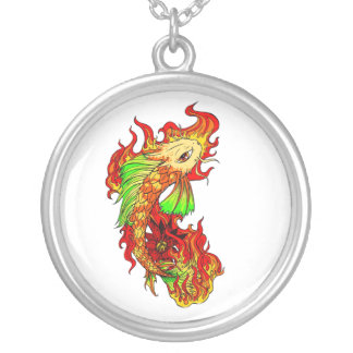 Cool Japanese Cute Koi Carp Fish Flame tattoo Silver Plated Necklace