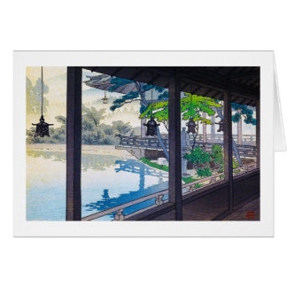 Cool japanese garden lake mountain scenery card