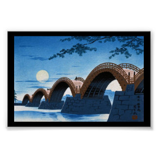 Cool japanese great bridge waterscape night moon poster