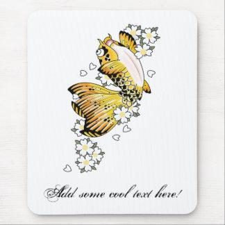 Cool Japanese Happy Gold Koi Fish Carp Mouse Pad