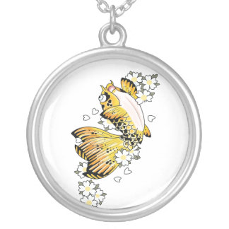 Cool Japanese Happy Gold Koi Fish Carp Silver Plated Necklace